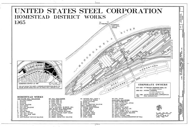 U.S. Steel Homestead Works, Along Monongahela River, north of Eighth Avenue, Homestead, Allegheny County, PA