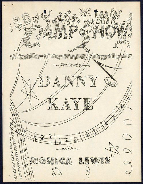 USO Camp Shows Presents Danny Kaye with Monica Lewis... [Typescript announcement with humorous scene drawn on cover]