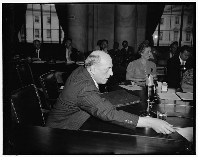 V explains 'Brandeis System' of insurance to Monopoly Committee. Washington, D.C., June 15. Judd Dewey, Deputy Commissioner of Savings Bank Life Insurance in Massachusetts, today reviewed the achievements of the life insurance system inaugurated by the late former Supreme Court Associate Justice Brandeis in his state. He showed that the 'Brandeis System,' while paying higher annual dividends, charges lower premiums, costs a great deal less to operate, made a higher rate in earnings on investments, and maintained a higher ratio of surplus to reserves than the other companies. Only one company in the state paid higher dividends over the last ten years, he said, and that company paid only 89 cents more for the entire period