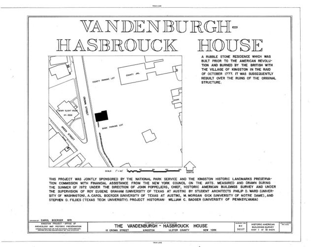 Vandenburgh-Hasbrouck House, 10 Crown Street, Kingston, Ulster County, NY