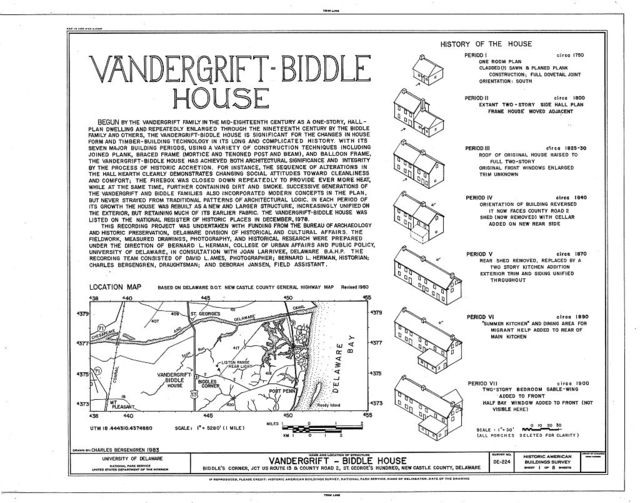 Vandergrift-Biddle House, Junction of US Route 13 & County Road 2, Saint Georges Hundred, Biddles Corner, New Castle County, DE