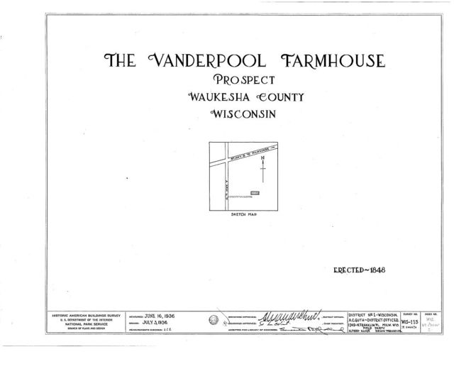 Vanderpool Farmhouse, Prospect, Waukesha County, WI