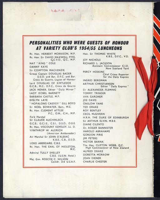 Variety Club of Gt. Britain Ladies Luncheon Program Booklet