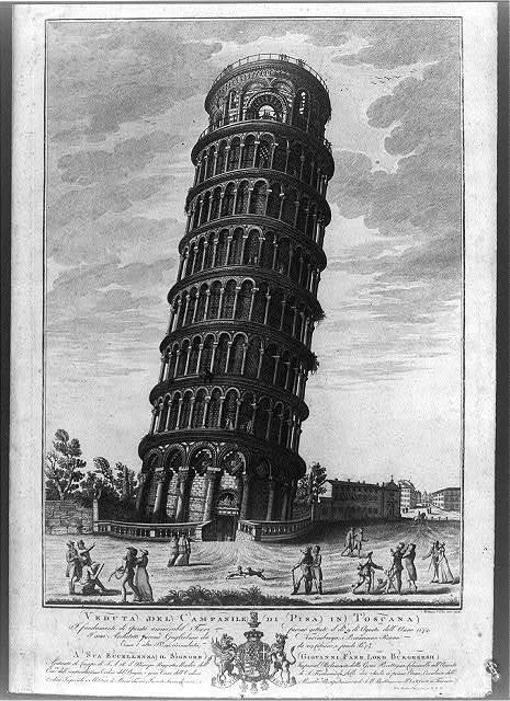 Veduta del campanile di Pisa in Toscana
