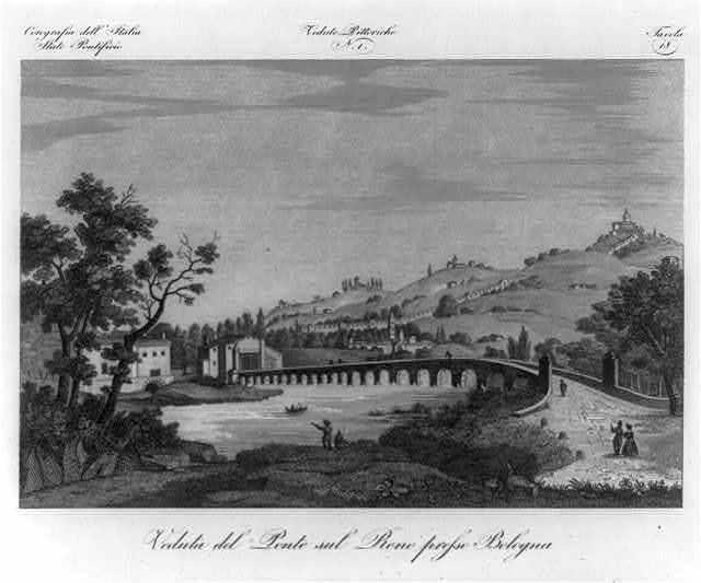 Vedute pittoriche. N. 1. Veduta del ponte sul reno presso Bologna