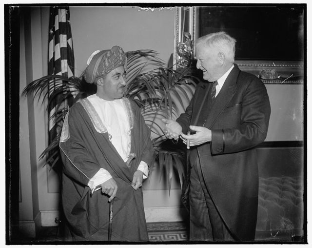Vice President greets Sultan of Muscat and Oman. Washington, D.C., March 5. How congress works, when it does, was explained to the Sultan of Muscat and Oman today by Vice President John N. Garner today when the Potentate visited the Capitol, 3/5/38