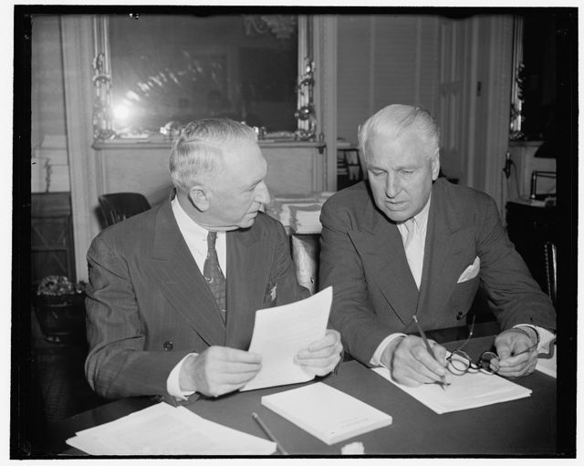 Victorious purgees shelve administration's neutrality legislation for term. Washington, D.C., July 11. By a vote of 11-12, the Senate Foreign Relations Committee today shelved the consideration of neutrality legislation until next term of Congress. By defeating the Pittman Resolution, they dashed the administration's hopes for repealing the arms embargo. Gillette vigorously denied that he voted as he did simply to take revenge for the president's attempt to defeat him at the last election. Both Senator Walter George, left, and Guy Gillette, right, have been in the center of a question mark since it became known that the committee would vote on neutrality legislation today. Both were intended victims of the 1938 [...], and today held controlling votes in the meeting