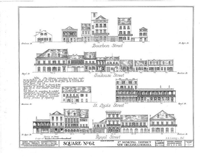 Vieux Carre Squares, Second District, Square Number 62, Royal, Bourbon, Saint Louis, & Toulouse Streets, New Orleans, Orleans Parish, LA