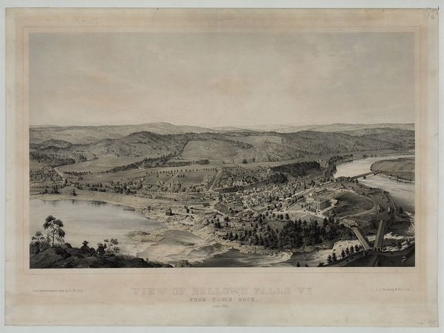 View of Bellows Falls Vt. From Table Rock. June, 1855