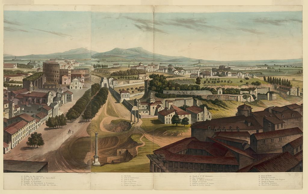 [View of Rome, including So. Carlo, Palace of the Vatican, Museum of the Capitol, College of Jesuits, etc.]