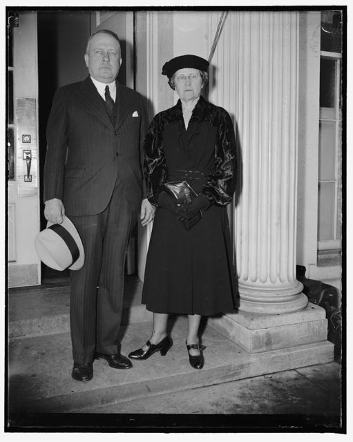 Visit the president Washington, D.C., April 22. Mrs. Joseph T. Robinson, wife of the former majority leader of the senate with her brother Grady Miller, who visited the president at the White House today, 4/22/38