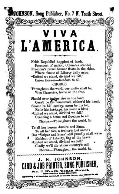 Viva l'America. J. H. Johnson, Song Publisher, ... Phila