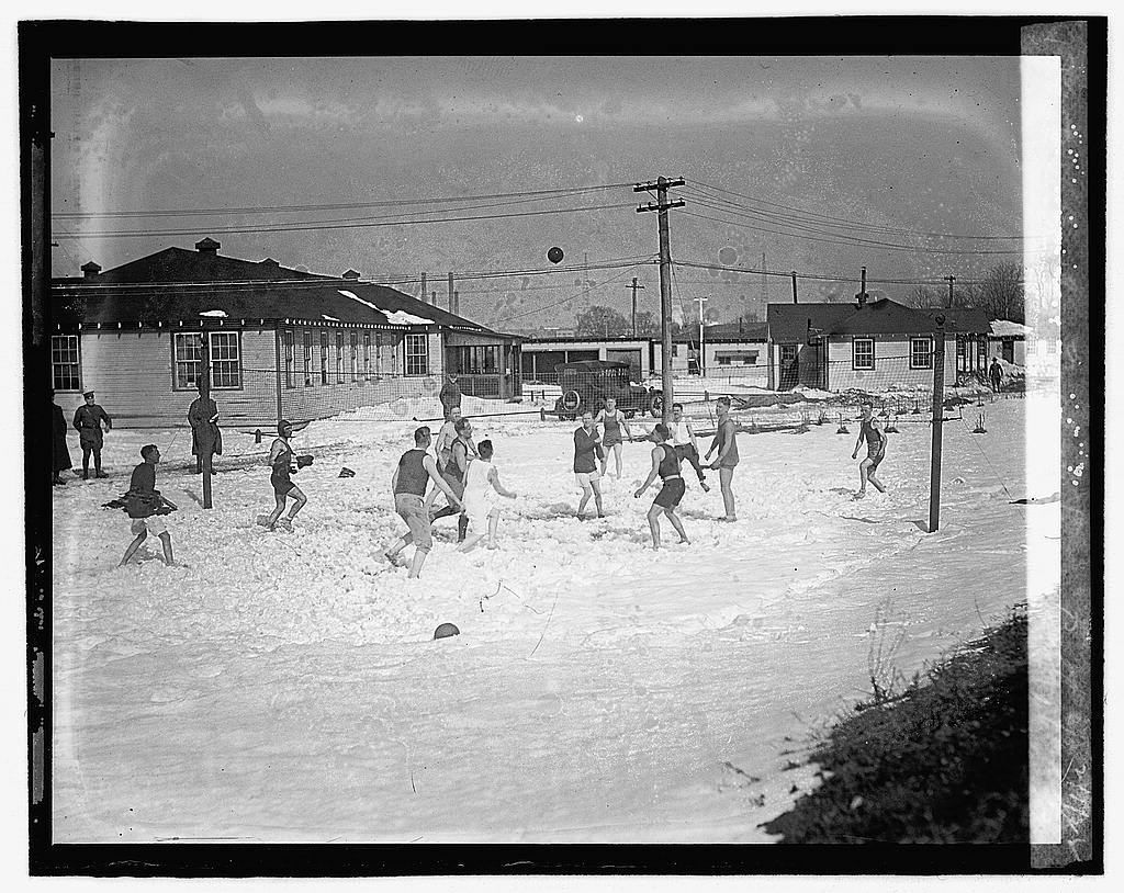 Volleyball in snow, Bolby Field, 2/1/22
