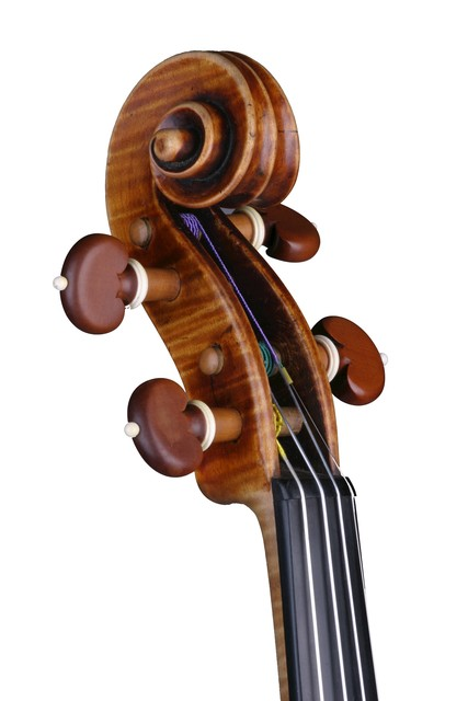 [ Vuillaume violin : strung scroll and pegbox, front left]