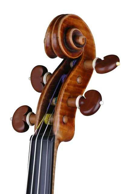 [ Vuillaume violin : strung scroll and pegbox, front right]
