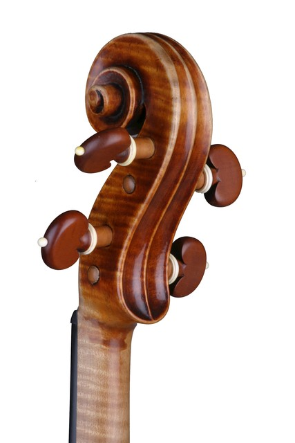 [ Vuillaume violin : strung scroll and pegbox, rear left]