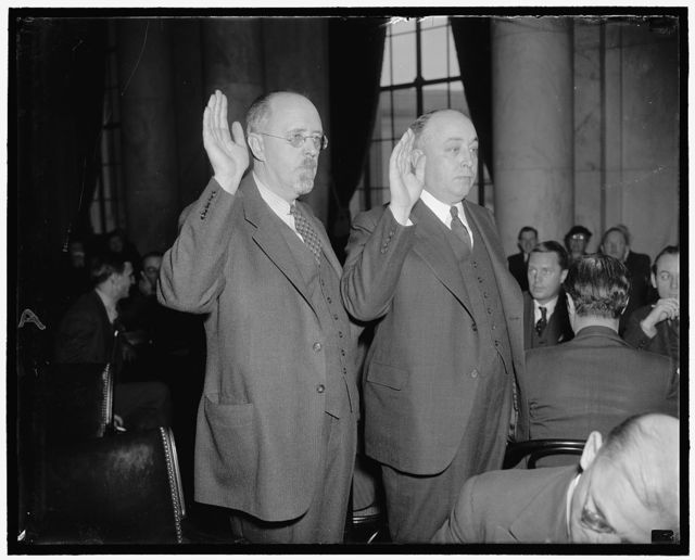 Walter B. Weisenburger, right, Exec. Vice Pres, & Noel Sargent, Secy. of the Nat'l Assoc. of Manufacturers, at Senate Civil Liberties Comm. Hearing