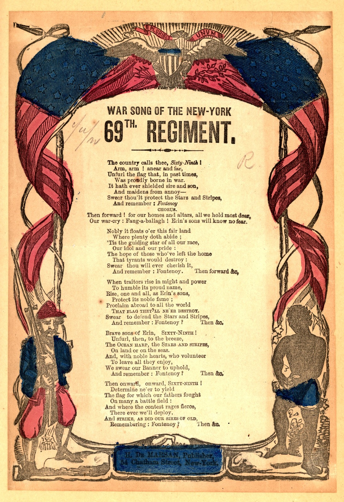 War song of the New-York 69th regiment. H. De Marsan, 54 Chatham Street, New York
