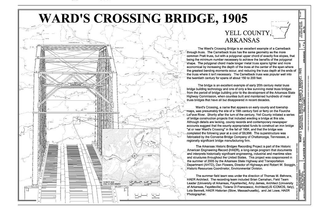 Ward's Crossing Bridge, Spanning Fourche Lafave River at Sunlight Bay Road (CR 8), Plainview, Yell County, AR