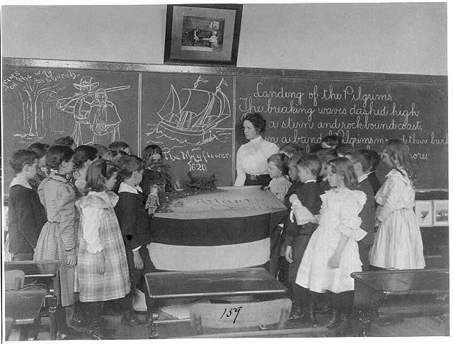 [Wash., D.C. public school classroom scene, ca. 1899: students studying the landing of the Pilgrims at Plymouth, Mass. (1st Div. no. 159)]