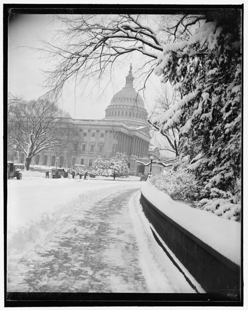 Washington whitened by heaviest snowfall in two years. Washington, D.C., Jan. 8. With a fall of 5.2 inches of snow, Washingtonians awoke this morning to find their Capital blanketed by the heaviest snowfall since 1938. This is a scene on Capitol Hill