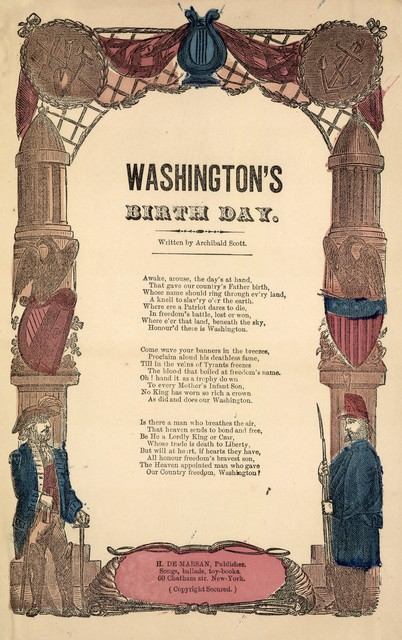 Washington's birth day. Written by Archibald Scott. H. De Marsan Publisher, 60 Chatham Street, N. Y