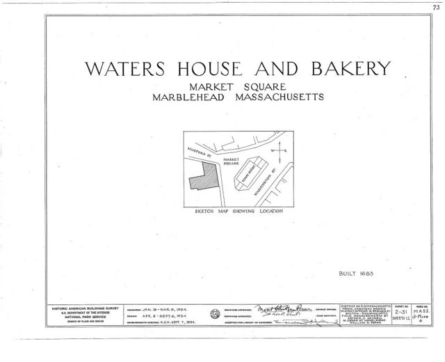 Waters House & Bakery, Washington Street, Marblehead, Essex County, MA