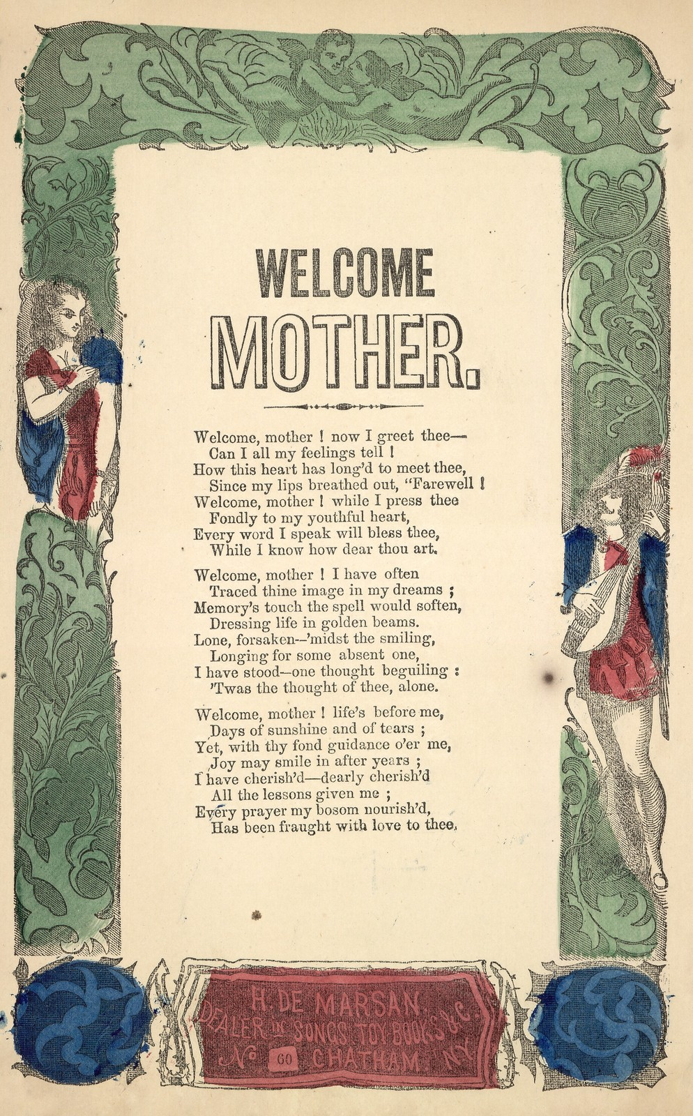 Welcome Mother. H. De Marsan, Publisher, 60 Chatham Street, N. Y