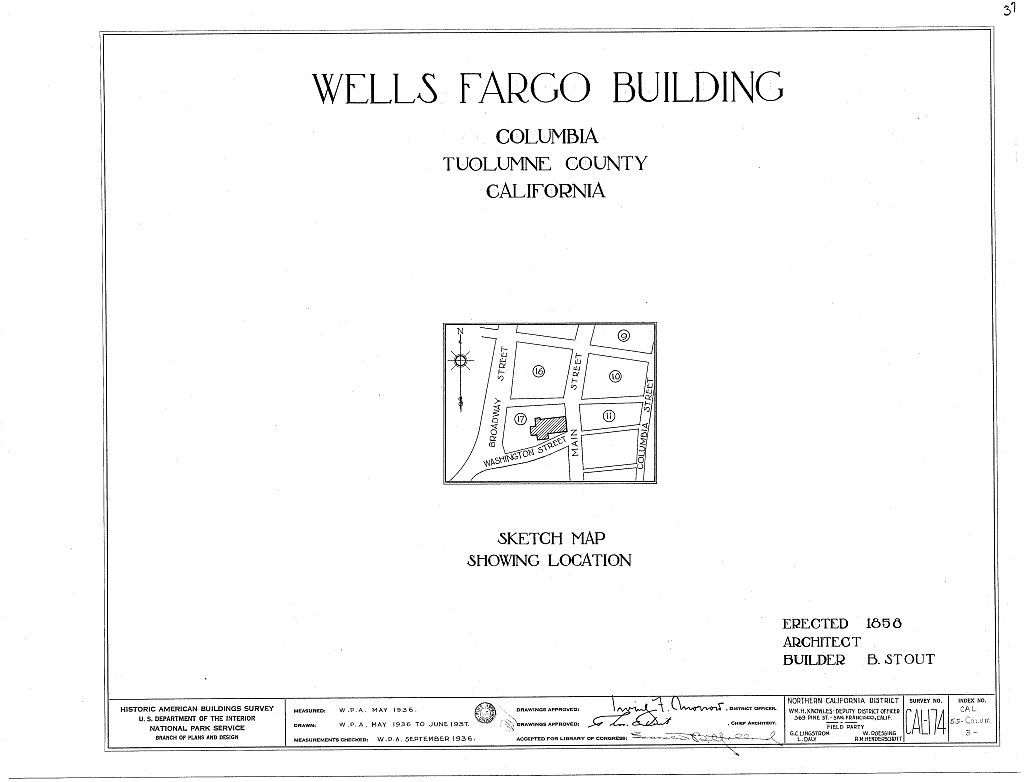 Wells Fargo & Company Building, Main & Washington Streets (Columbia State Historical Park), Columbia, Tuolumne County, CA