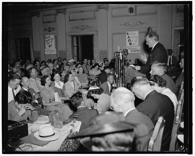 Wheeler hits sale of guns at peace rally. Washington, D.C., June 8. Condemnation of 'war hysteria' and defense policies was voiced last night by leaders of congressional, labor, student, and women's groups at an antiwar mass meeting. Over 1,100 persons attended. Senator Burton K. Wheeler, Democrat, of Montana, struck at Administration proposals to sell the Allies supplies of rifles, 75 millimeter guns and ammunition 'officially described as obsolete.' He further stated, ' I want to do everything to help the Allies stamp out the brutal forces which seek to dominate Europe and perhaps the rest of the world, but setting the United States on fire will not help cut out the fire in Europe'