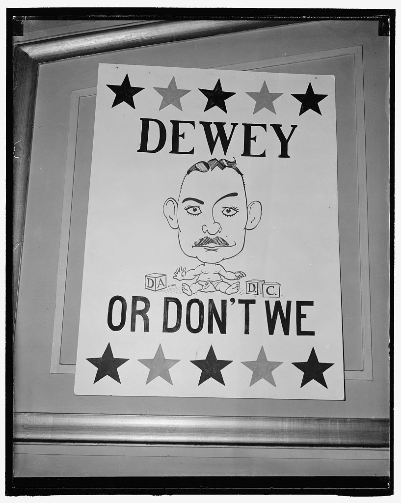 White House aspirants join political rally at National Press Club. Thomas Dewey. Washington, D.C., March 1. Ten potential presidential candidates were expected to attend an off the record political rally at the National Press Club tonight. Each aspirant is expected to give a short but pithy speech on why he should not be elected president. In preparation for this bit of satire for the evening, the huge dining room of the press club was decorated with farcical caricatures. This is a sample of one of them, 3-1- 40