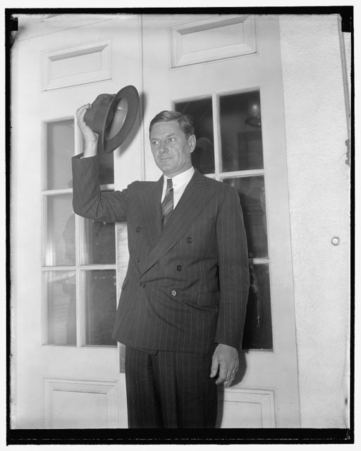White House caller. Washington, D.C., Jan. 6. Governor Burnett Maybank of South Carolina, leaving the White House after a call on President Roosevelt today, 1/6/39