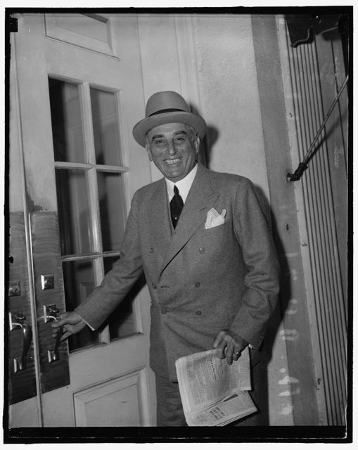 White House caller. Washington, D.C., July 18. Joseph E. Davies, United States Ambassador to Belgium, leaving the White House today after a call on President Roosevelt, 7/18/39