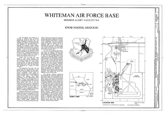 Whiteman Air Force Base, Bomber Alert Facility S-6, 1300 Alert Road, Knob Noster, Johnson County, MO