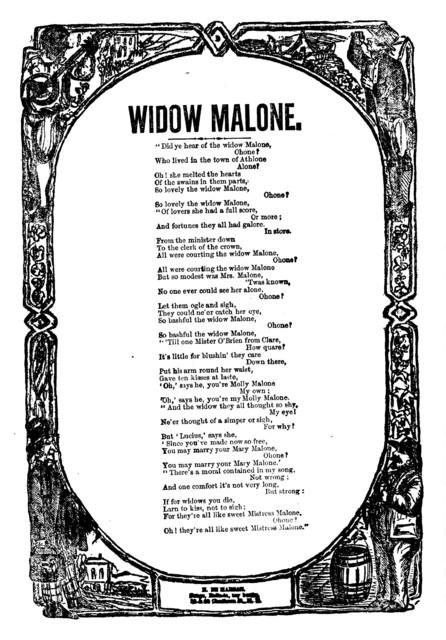 Widow Malone. H. De Marsan, Publisher, 38 & 60 Chatham Street, N. Y