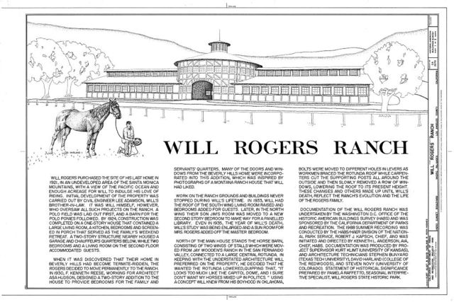 Will Rogers Ranch, 14253 Sunset Boulevard, Pacific Palisades, Los Angeles County, CA