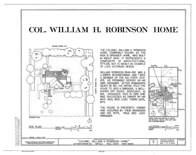 William H. Robinson House, 127 Fourth Avenue Northeast, Mayville, Traill County, ND
