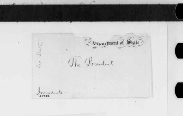 """William H. Seward to Abraham Lincoln,  ND  (""""Mr. C."""" will not be arrested)"""