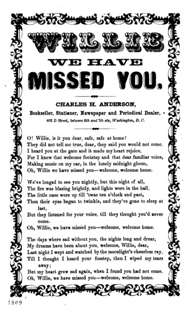 Willie we have missed you. Charles H. Anderson. Bookseller, stationer, &c., 402 D. Street, Washington, D. C