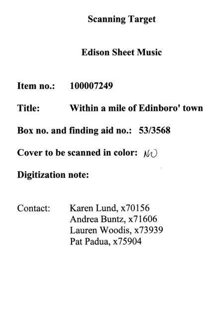 Within a mile of Edinboro' town