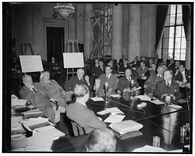 Witnesses before monopoly committee. Washington, D.C., Nov. 3. These top-ranking steel business leaders seemed bored as they answered questions of the Monopoly Committee today. Left to right: Elton Hoyt, 11, Pickands, Mather Co., Crispin Oglebay, Oglebay, Norton & Co., Emmett Butler, Butler Bros., St. Paul, Minn., Patrick Butler, Butler Bros., St. Paul, Minn., E.B. Greene, Cleveland Cliffs Iron Ore Co., George M. Humphrey, M.A. Hanna Co.