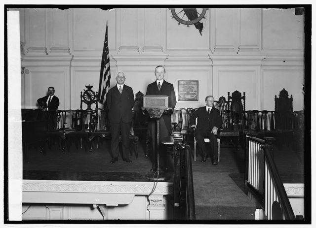Wm. Butler, Pres. Coolidge & F.W. Mondell at notification ceremonies, 8/14/24