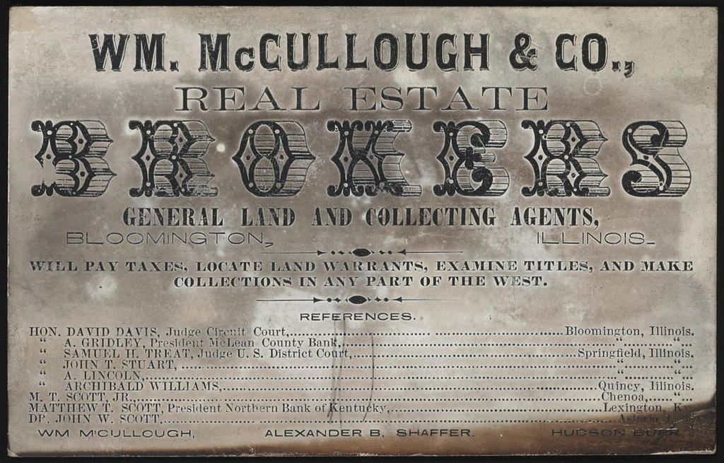 Wm. McCullough & Co., real estate brokers general land and collecting agents.