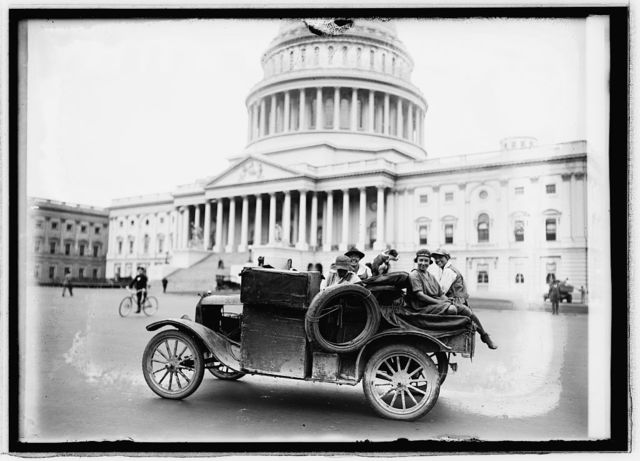 [Women and dog in car in front of Capitol building], 9/21/21