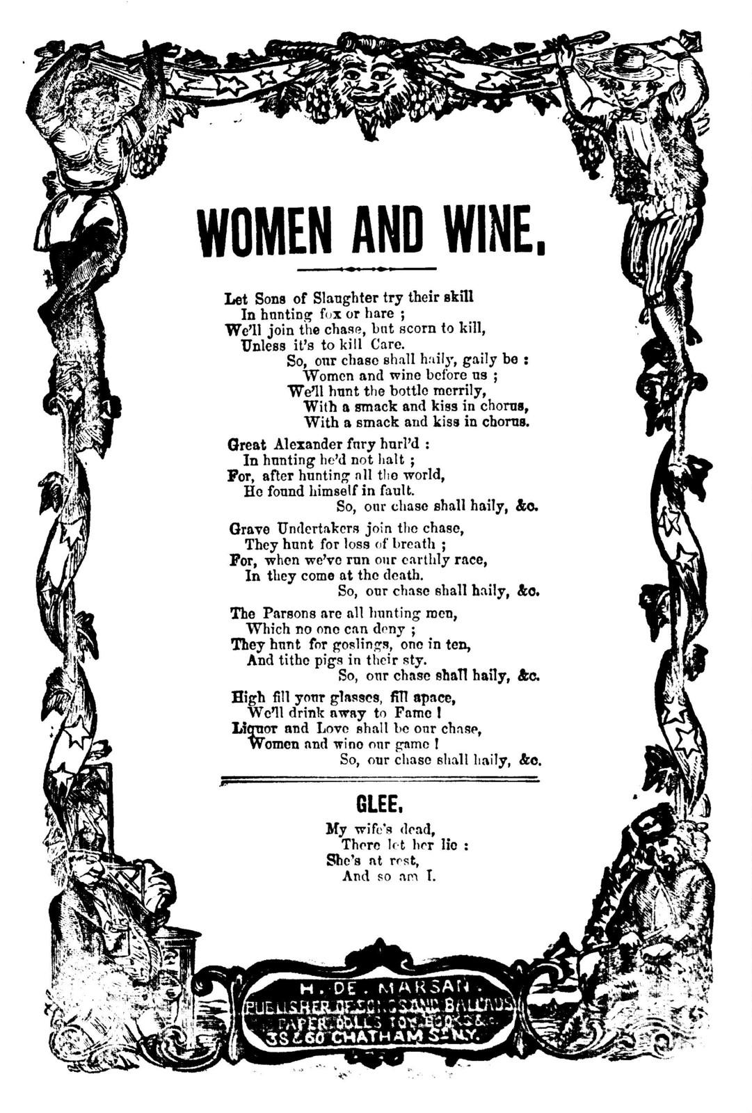 Women and wine. H. De Marsan, Publisher, 38 & 60 Chatham Street, N. Y