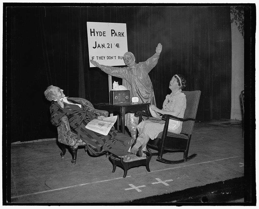 Women's Press Club skit instructs future first ladies on how to get along. 4. Scene at Hyde Park, supposing that Roosevelt has retired to be squire of Douchess County, when a man from Mars drops in to ask him to be president of the universe. He thinks it a good idea and right away says he will move the Sun a bit to just a little different angle. Roosevelt is Esther Von Waggoner Tufty of Tufty Service, Pat O'Malley of C.A.A. is man from Mars, while Virgila Stphens, of The Washington Time-Herald, is Mrs. Roosevelt