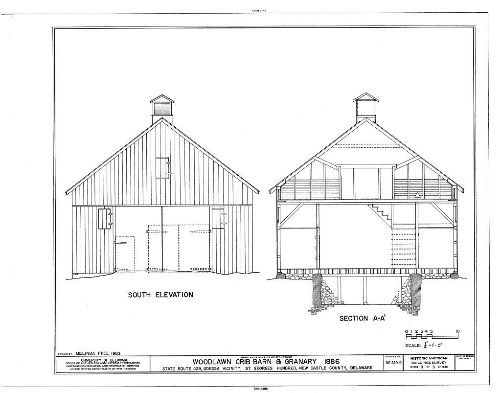 Woodlawn, Crib Barn & Granary, Saint Georges Hundred, County Route 429, East of Route 428, Odessa, New Castle County, DE