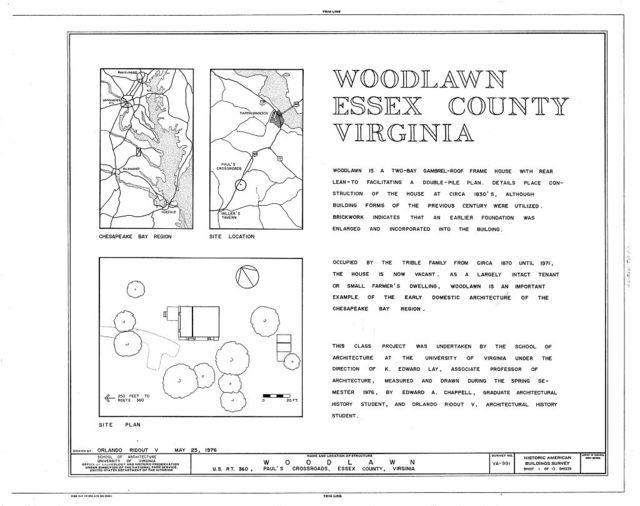 Woodlawn, U.S. Route 360, Pauls Crossroads, Essex County, VA