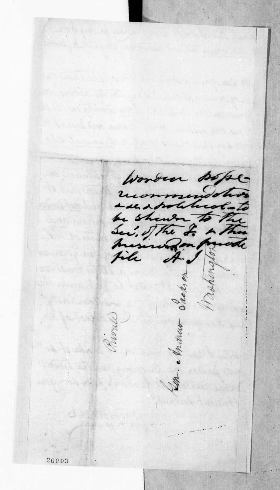 Worden Pope to Andrew Jackson