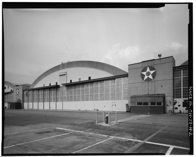 Wright-Patterson Air Force Base, Area B, Building 4, Modification Hangar & Flight Research Lab, South end of flightline between Thirteenth Street & Loop Road, Dayton, Montgomery County, OH